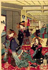 Yoshiiku: Courtesans in a teahouse