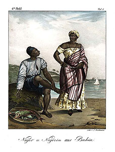 Brodtmann after Rugendas: Lady & fisherman