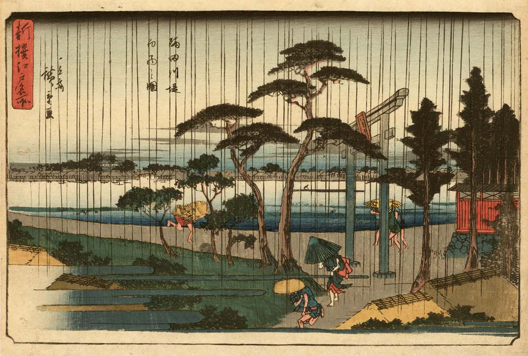 Hiroshige: Rain shower at Sumida river