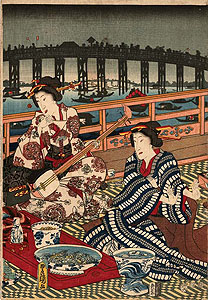Kunisada: Night scene in Ryôgoku