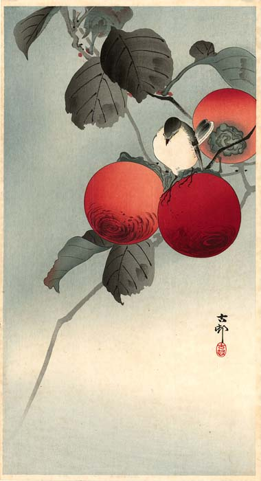 Koson: Nuthatch with persimmon