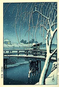 Hasui: Evening snow at Edogawa
