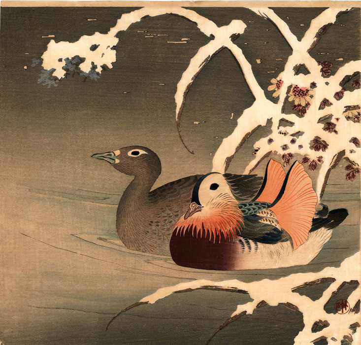 Chikuseki: Mandarin ducks with chrysanthemums