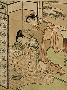 Koryûsai: Young couple at the kotatsu