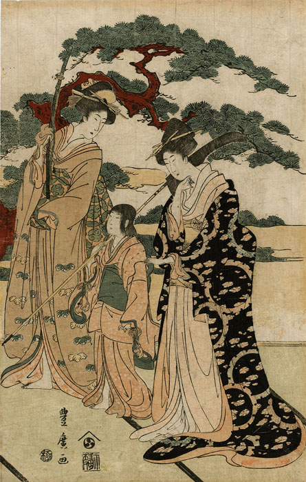 Toyohiro: Ladies with a sword and a naginata