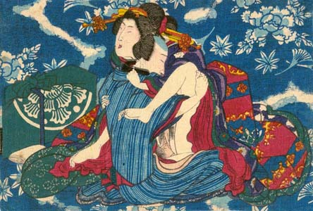 Utagawa-School: Lovers with ornamental backdrop