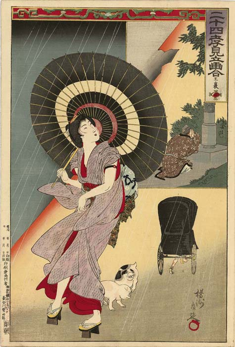 Chikanobu: Young Lady in a thunderstorm