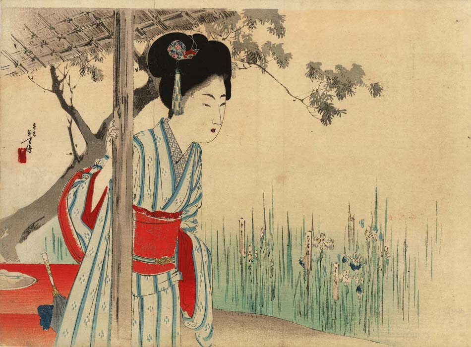 Toshikata: Young lady looking at flowers