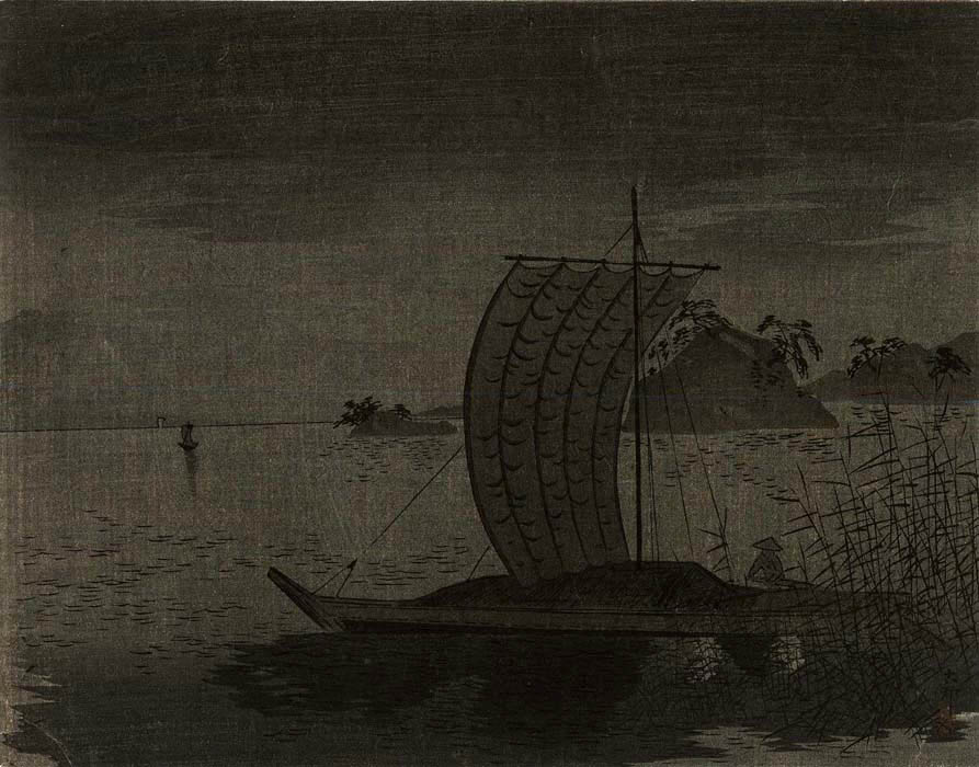 Koson: Sailingboat at night