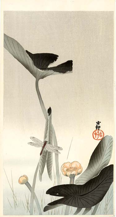 Koson: Dragonfly and lotus