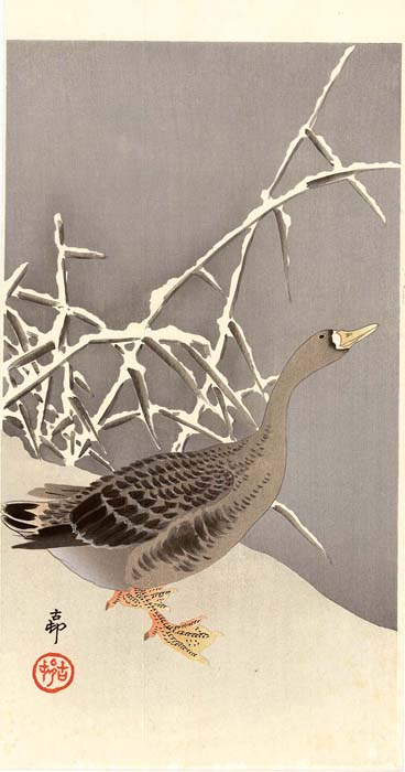 Koson: Goose standing in the snow