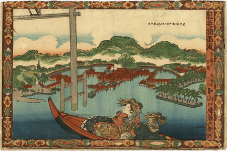 Kunisada I: Beautiful courtesans on a boat