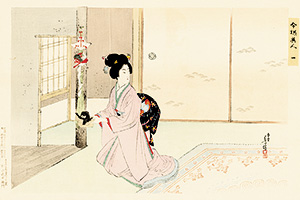Toshikata - Lady with a tray