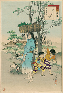 Toshikata - Farmer's wife with a basket
