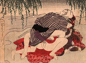 Utagawa school - Lovers at a river bank