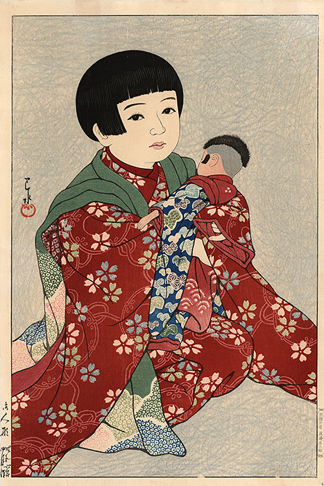 Hasui - Girl with a doll
