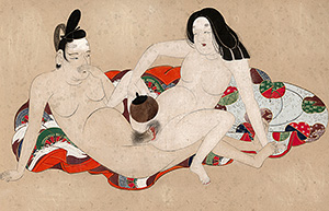 Shunga painting - Lovers and a fan