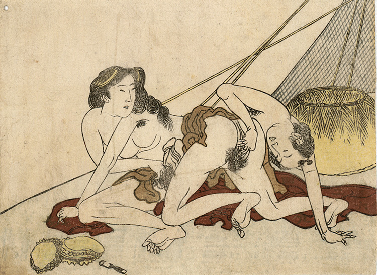 Hokusai - Lovers on a beach