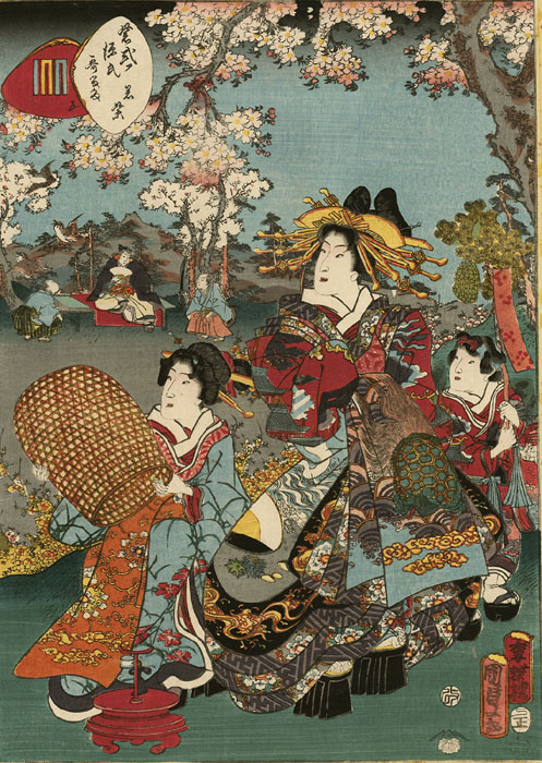Kunisada II-Genji-Courtesan under cherry blossoms