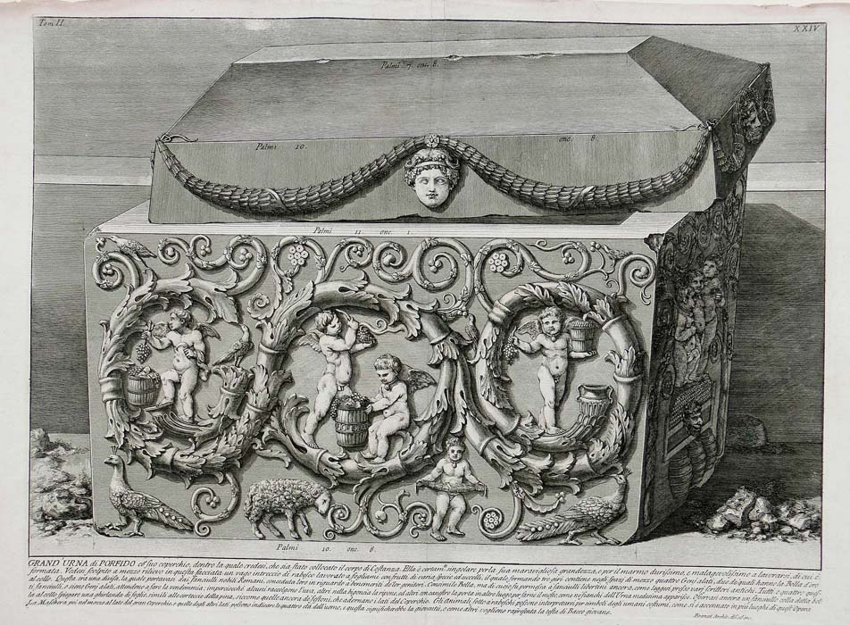 Piranesi - Antichitá Romane -  Large porphyry sarcophagus