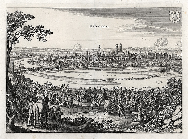 M. Merian: Gustav Adolf from Sweden and his troops are besieging Munich