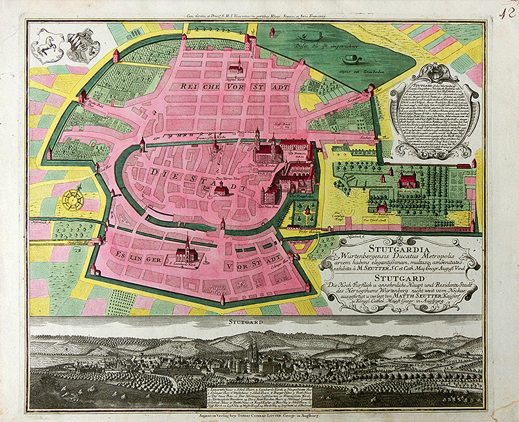 Stuttgart - Town plan and view